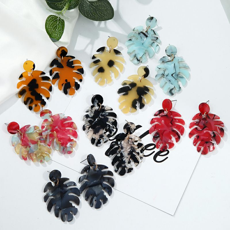 19 Acrylic earrings for women New fashion jewelry Tortoise Color Leopard Print acetate earring Geometric colorful 5