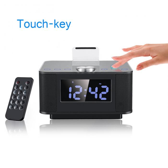 USB Phone Charge Dock Stand Station Support AUX FM Radio Alarm Clock Bluetooth Speaker With LCD Diaplay Handsfree Dual @