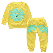 2017 New autumn style Children spring Sunflower baby  girls clothing set T-shirt + pants children's sports clothing set BCS201