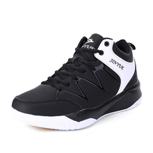 2017 New Basketball Shoes For Men Black Blue Mens Sport Basketball Trainers Leather Basketball Training Boots(China)