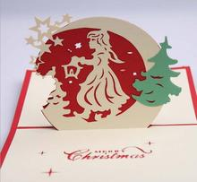10pcs Gril Angel Star Handmade Kirigami Origami 3D Pop UP Greeting Cards Invitation Postcard  For Birthday Christmas Party Gift