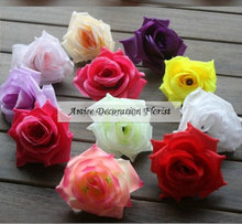 Prom Fabric  7-8.5 cm  50PCS Artificial Silk Rose Decorative Flower Head Wedding Home Church Decor Pink Green Purple F397