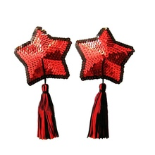 Buy 1X Pair Sexy Women Silicon Sequin Intimate Bra Nipple Star Shape Tassel Covers Pasties Breast Petals