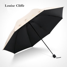 Umbrella rain women Fold Dual use Vinyl Sun umbrella Anti-UV Small fresh Umbrellas