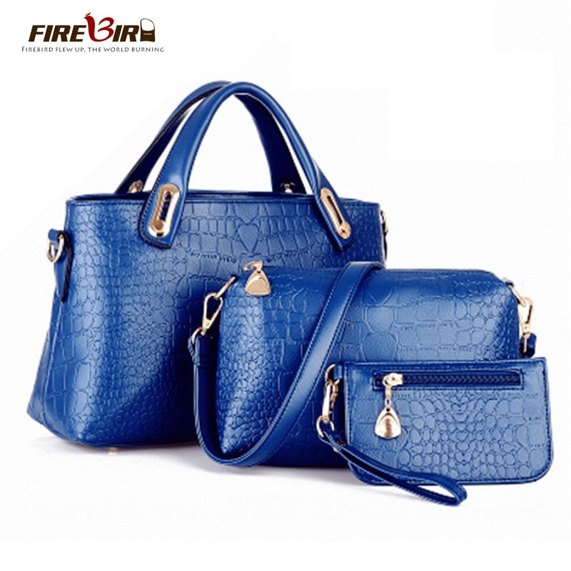 FIREBIRD! 3 PCS/Set 2017 Crocodile pu Leather Women Handbag Shoulder Bags Ladys Vintage Messenger Bags Wallet bolsos bag H342<br><br>Aliexpress