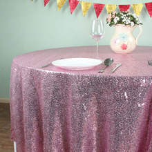 "Pink - 108"" Round Glitz Sequin TableCloths Banquet Table covers Christmas Birthday Wedding Party Decoration"