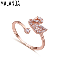 MALANDA Brand 2017 Hot Sale Luxury Gold Color Excellent White Zircon Swan Rings For Women Female Wedding Party Jewelry Gift(China)