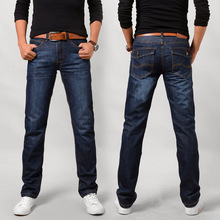 spring autumn men fashion straight slim jeans men casual cheap pocket jeans