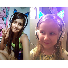 Foldable Flashing Glowing Headphone Cat Ear Stereo Headphones 3.5mm Music Headset With LED Light For PC Laptop Mobile Phone Mp3