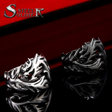 Steel soldier  Wholesale Fashion Jewelry Dragon Rings Men High Quality Stainless Steel USA UK Russian Brazil BR8-024
