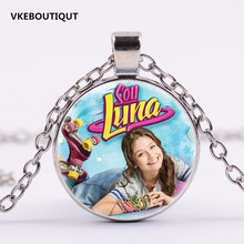 2017 Hot Sale Soy Luna Glass Pendant Necklace Soy Luna Vintage Silver/Bronze/Black color chain Necklace Gift For Children