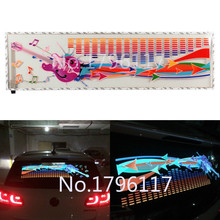 1Pcs Rhythm Music Activated EL Equalizer Car decration Sticker Glow Flash Panel Multi Designs LED car music light 90x25cm(China)