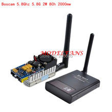 Boscam 5.8G FPV 2W 8 Ch 2000mW Wireless Audio Video Transmitter Sender+ RC805 Receiver DJI Phantom gopro hero3