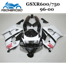 Free Custom Fairing kit for Suzuki 1996 1998 2000 GSXR750 GSX R600 96 97 98 99 00 GSXR 600 white black motorcycle Fairings parts(China)
