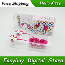 10 pcs/lot New Cartoon Hello Kitty Earphone Stereo Headphones Portable Headset With Retail Box For MP3 Player & Mobile Phone
