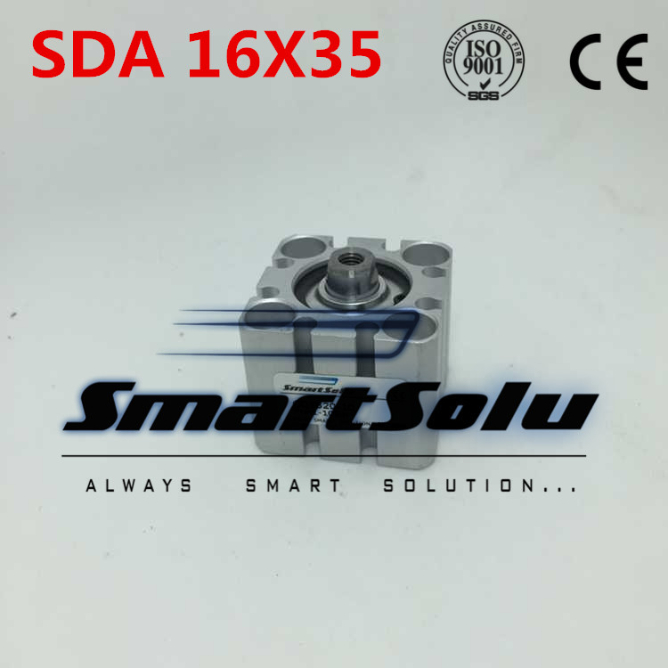Free Shipping 2pcs/lot SDA16X35 Pneumatic Compact Cylinder 16mm Bore 35mm Stroke Double Action Airtac Cylinder Aluminum Alloy<br>