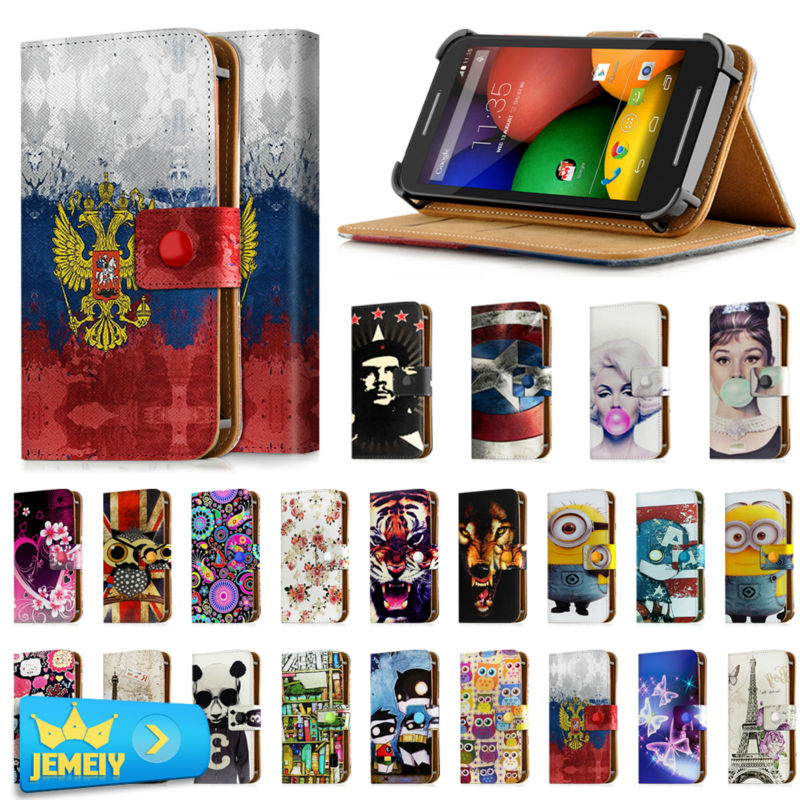 Universal Phone Case For Motorola photon 4g / razr I / Razr M Cover For Motorola Printed Leather Stand Flip Case Small size(China)