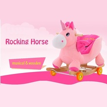 wholesale rocking horse newborn Baby RIDE ON toys cute unicorn carriage 2in1 children wooden music bassinet buggy christmas gift