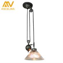 American retro nostalgia lamp lift glass mahjong lamp chandelier restaurant study lamp light material iron E27 AC110-240V(China)