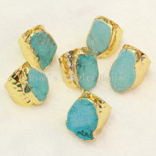 BOROSA Gold Color Edged Freedom Shape Turquoises Rings