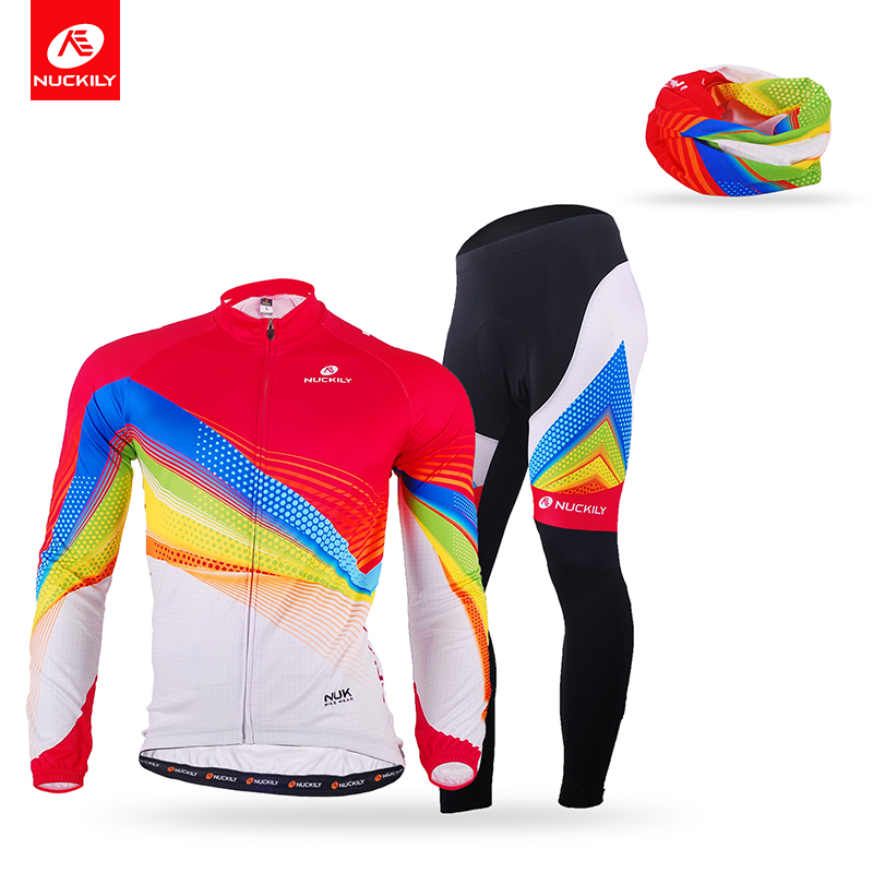 Nuckily Summer Men's Long Sleeve Cycling Jersey Sets Breathable 4D Padded Bicycle Sportswear with the headscarf MC007MD007+PG97(China (Mainland))