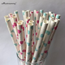 25 Valentines Day Straws-Cake Pop Sticks-Bridal Shower Straws Pink Heart Blue Heart Love Valentines Paper Straws
