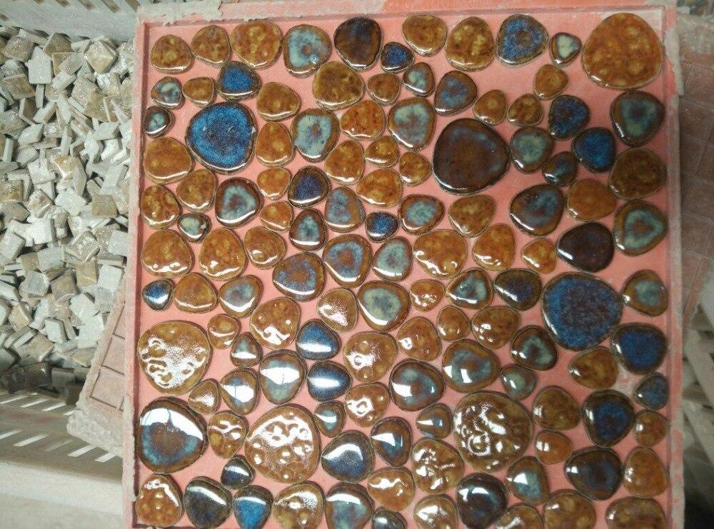 Orange Mixed Blue Pebble Ceramic Porcelain Mosaic Backsplash