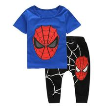 NEW spiderman kids boys clothing sets children's clothes short cartoon casual T shirt+ pants 2 pcs baby boys tees sport suit set(China)