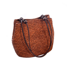 Women Weave Bucket Bag Summer Woven Straw Beach Bag Rattan Shoulder Bags Handbags Brown/Beign/Green