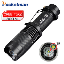 zk50 Mini Cree xml t6 q5 flashlight powerful Zoomable Tactical Flashlight waterproof led torch lanterna flash max 3000 lumens