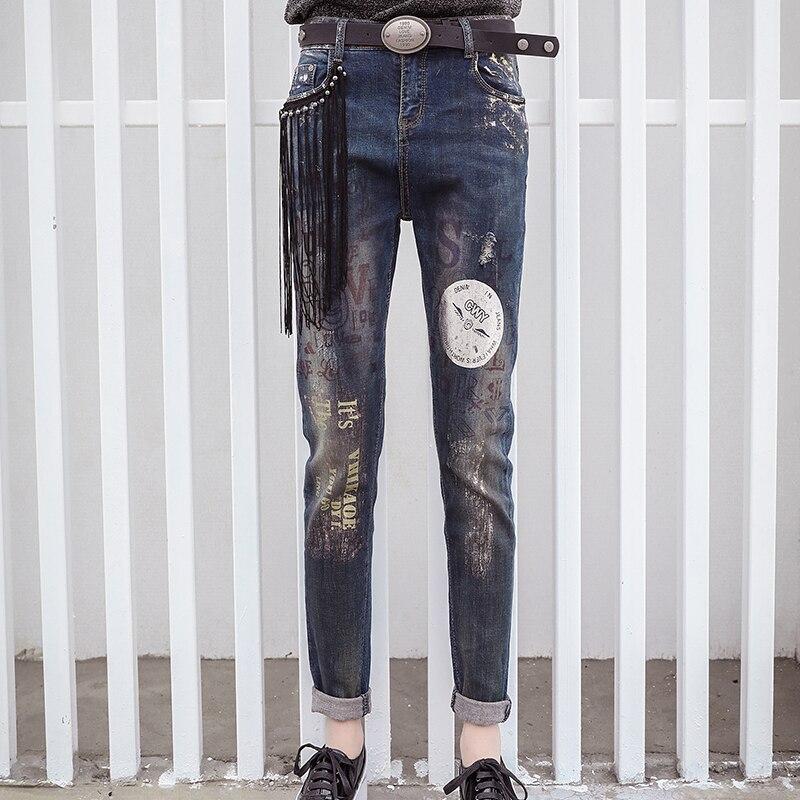 SEJIAN 2017 Womens Jeans Fashion Letters Embroidery Paint Patterns Jeans Cotton Soft Denim Wraps Tassel Casual Pants 5039Îäåæäà è àêñåññóàðû<br><br>