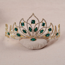 Baroque Golden Bridal Tiara Red Crystal Bride Diadem Green Rhinestone Crown for Women Wedding Headbands hair jewelry accessories(China)
