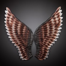 New Style Creative Home Wall Decor Abstract Retro Wing Sculpture Decor Figurine Decorative Metal Wings Statue TV Background(China)