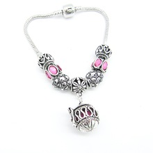Vintage Nice Pattern Large Hole Europe Beads with Openable Locket Cage DIY Essential Oil Charm Bracelet Fashion Jewelry(China)