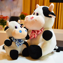 CXZYKING 25~40CM Cow Plush Stuffed Dolls Super Cute Toys For Baby Plush Toys Cattle With Bow Decoration PlushToys For Girl