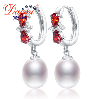 Daimi 8-9mm tear drop pendientes de perlas y cristal brillante de perlas de agua dulce pendientes gancho de nuevo