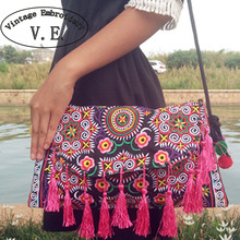 Thai Handmade Embroidery Bag Double Side Embroidered Shoulder Messenger Bags Ethnic Vintage Small Clutch Cover Tassel handbags