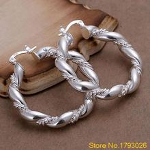 Women's Tribal Vintage Waved Silver Plated Twisted Dangle Punk Hoop Earrings 2015 4TFC(China)