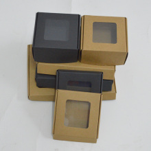20pcs foldable paper box kraft with pvc window black craft wedding favors and gifts candy box packing cardboard boxes package(China)