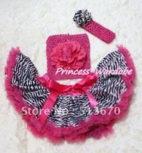 Hot Pink Zebra Baby Pettiskirt, Hot Pink Peony Hot Pink Crochet Tube Top, Hot Pink Headband Zebra Rose 3PC Set MACT128