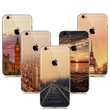 Ultra Thin Soft TPU Silicone Case for coque iphone 8 7 Plus iphone7 Scenery Landscape Case Empire Building Railway New York Capa(China)