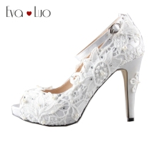 CHS576 DHL Express Custom Handmade PeepToe Ankle Strap Ivory Lace High Heels Women Shoes  Dress  Pumps Bridal Wedding Shoes