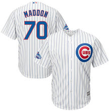 Hot Men's Chicago Cubs Joe Maddon Baseball White Home 2016 World Series Champions Team Logo Patch Jersey(China)