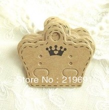 Wholesale Free Shipping  By Fedex Custom  Your  Logo   Kraft Paper  Crown Shape Earring card Customize Die Cut Shap