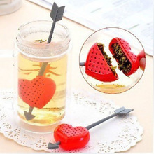 16cm Creative Home Furnishing An Arrow Through the Heart Tea Strainer Spoon Making Device Bags Leaf Filter TB(China)