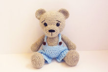 Amigurumi crochet bear handmade oll toy baby rettle(China)