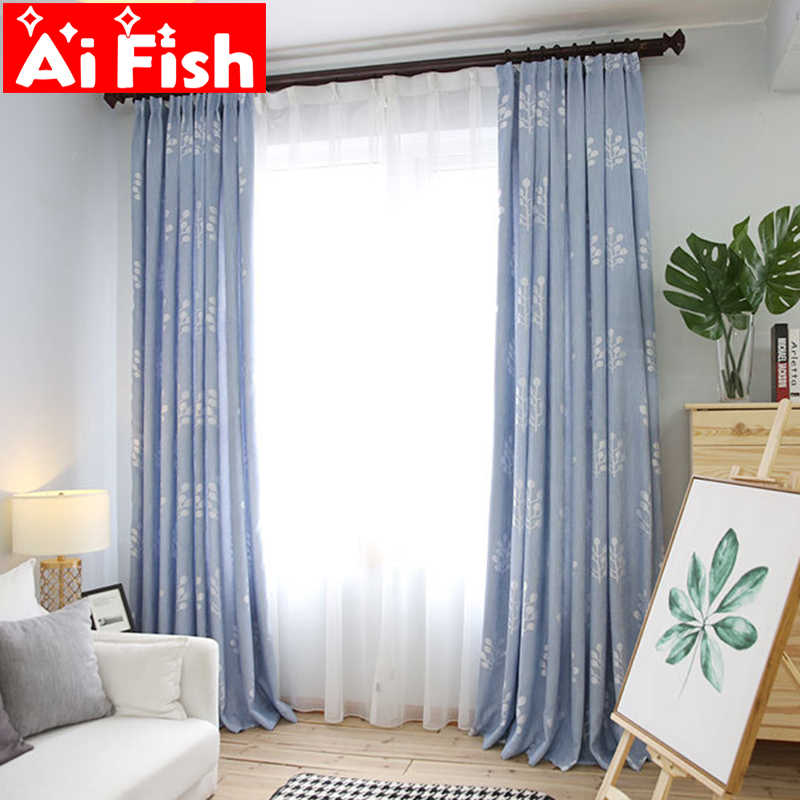 Blue  Green Curtains Fabric Bamboo Cotton Jacquard Shade Curtain For Living Room Kitchen Door White Tulle Curtains MY055-3