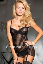 hh1090  free shipping Black Lady's Sexy Lingerie Backless Babydoll Mini Dress Underwear +G-string