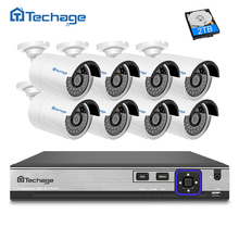 Techage HD H.265 4.0MP POE Security Camera CCTV System 8CH NVR, 8pcs 2592*1520 IP Camera Outdoor Day/Night View Surveillance Kit(China)