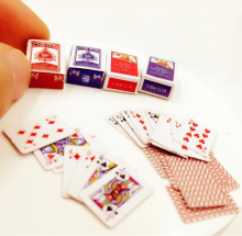 1 Set Mini Cute 1:12 Dollhouse Miniatures Poker Home Decoration Poker Cards Playing Game for BJD Kurhn Doll Accessories